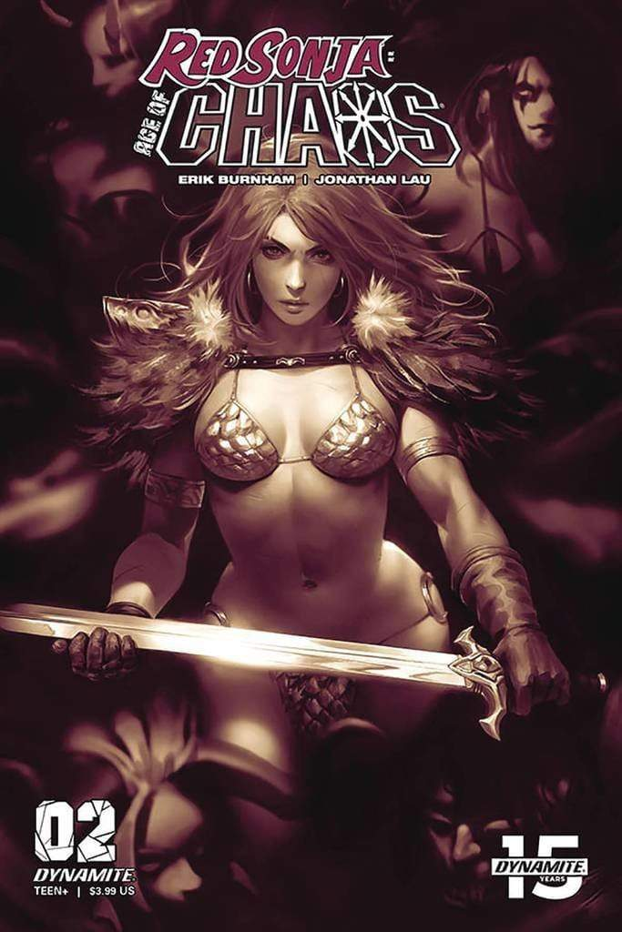 7 Ate 9 Comics Comic RED SONJA AGE OF CHAOS #2 1:25 Derrick Chew Monochramatic Variant Cover