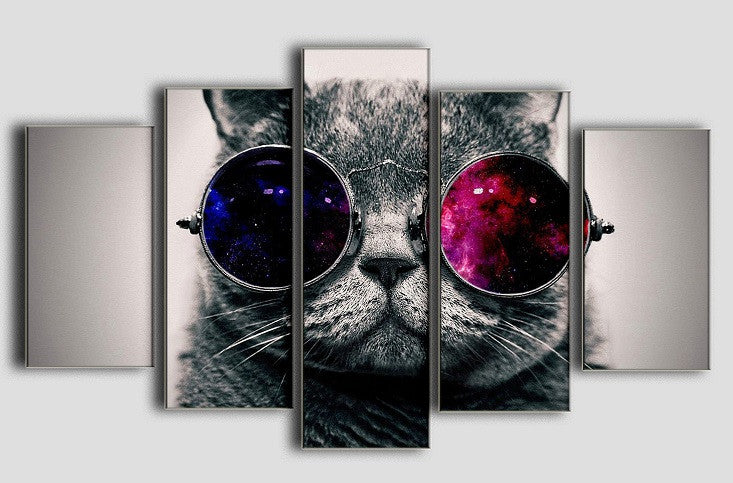 Cat With Glasses - 5 Piece Canvas