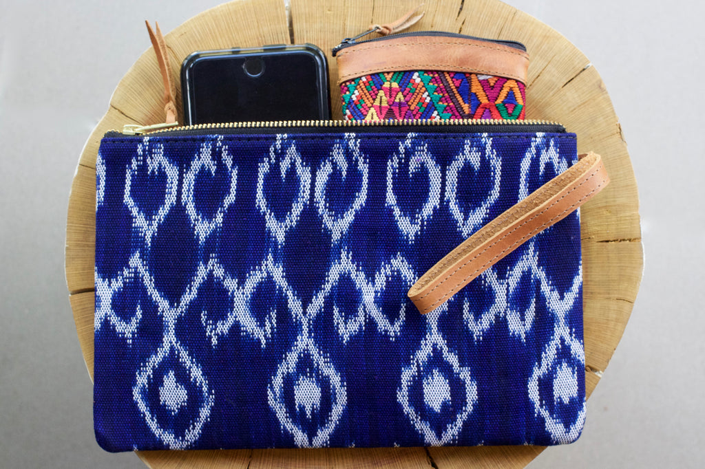 azul ikat clutch cielo collective