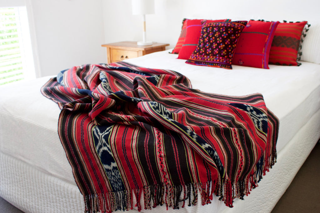 Amor Ikat Throw Red Sapo Cushions Red Diamante Cushions Cielo Collective