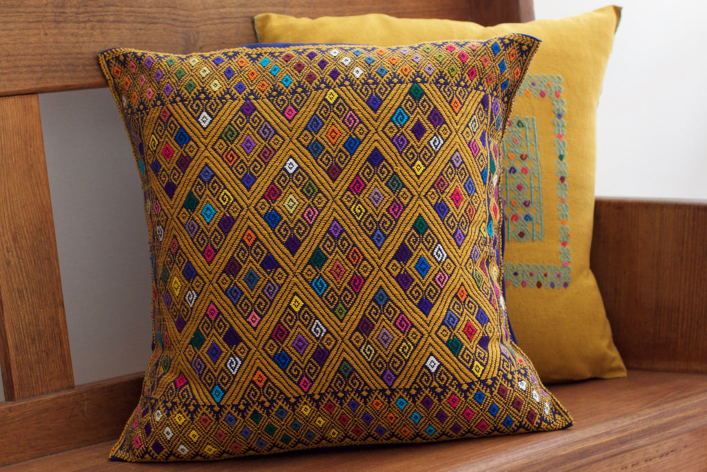 Mustard Diamante Cushion Flora Cushion Cielo Collective