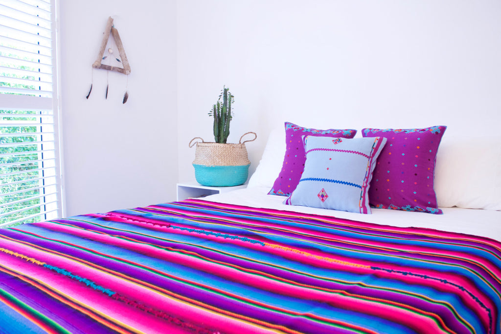 Rainbow Throw Blue Sapo Cushion Mundo Cushions Cielo Collective