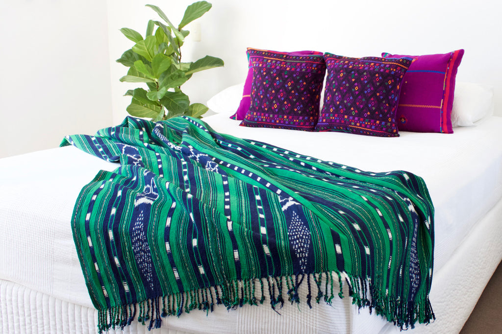 Verde Ikat Throw Purple Diamante Cushions Cielo Collective