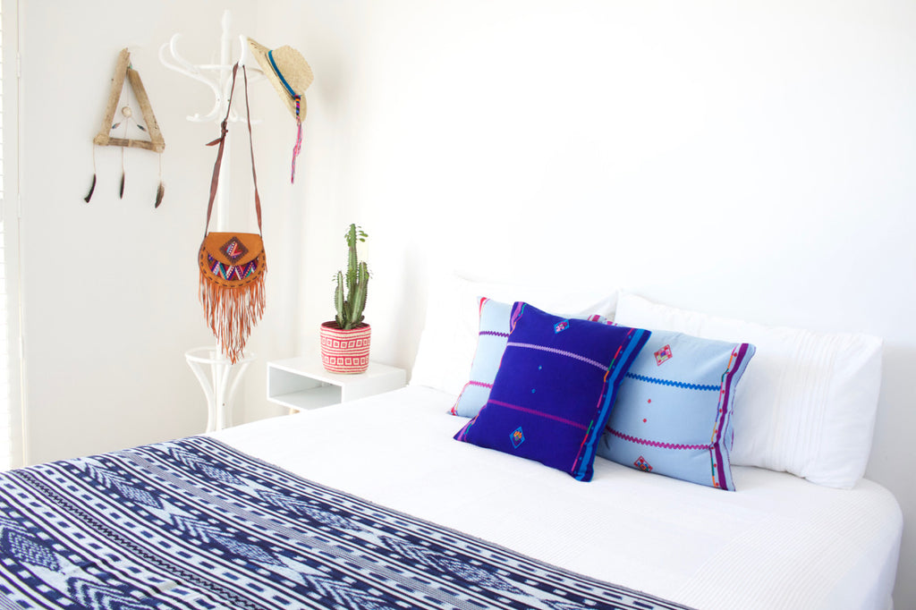 Indigo Ikat Throw Blue Sapo Cushions Cielo Collective