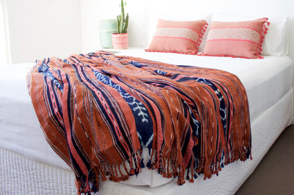 Cafe Ikat Blanket Dusty Pink Jalieza Cushions Cielo Collective