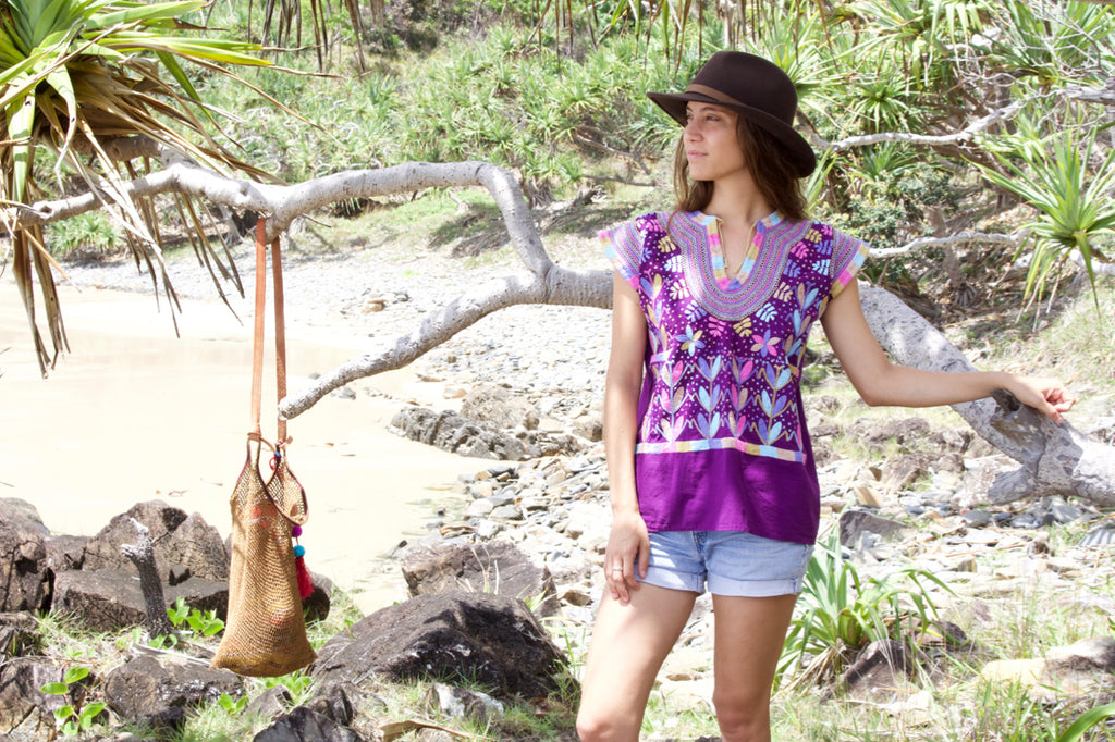 cielo collective chamula blouse purple maize