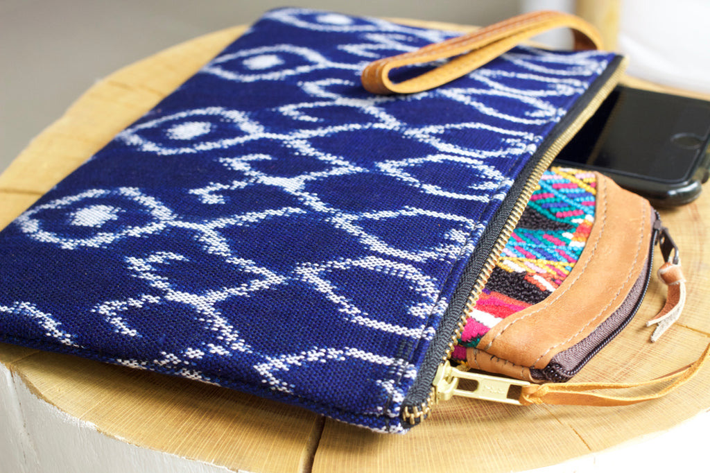 cielo collective azul ikat clutch