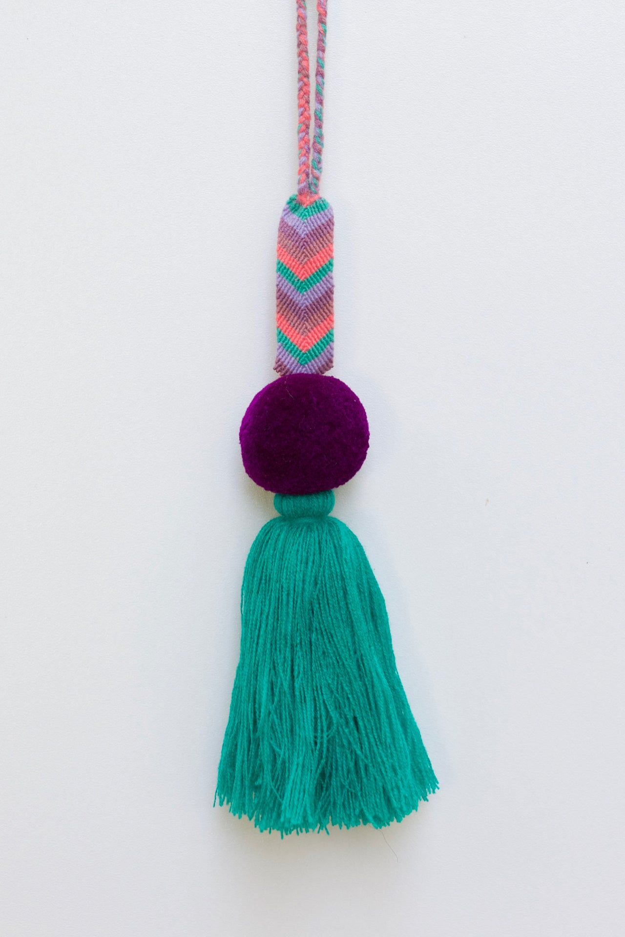 Pulsera Pom Pom 02  Decor Purple & Turquoise - Cielo Collective handmade Mexico Guatemala