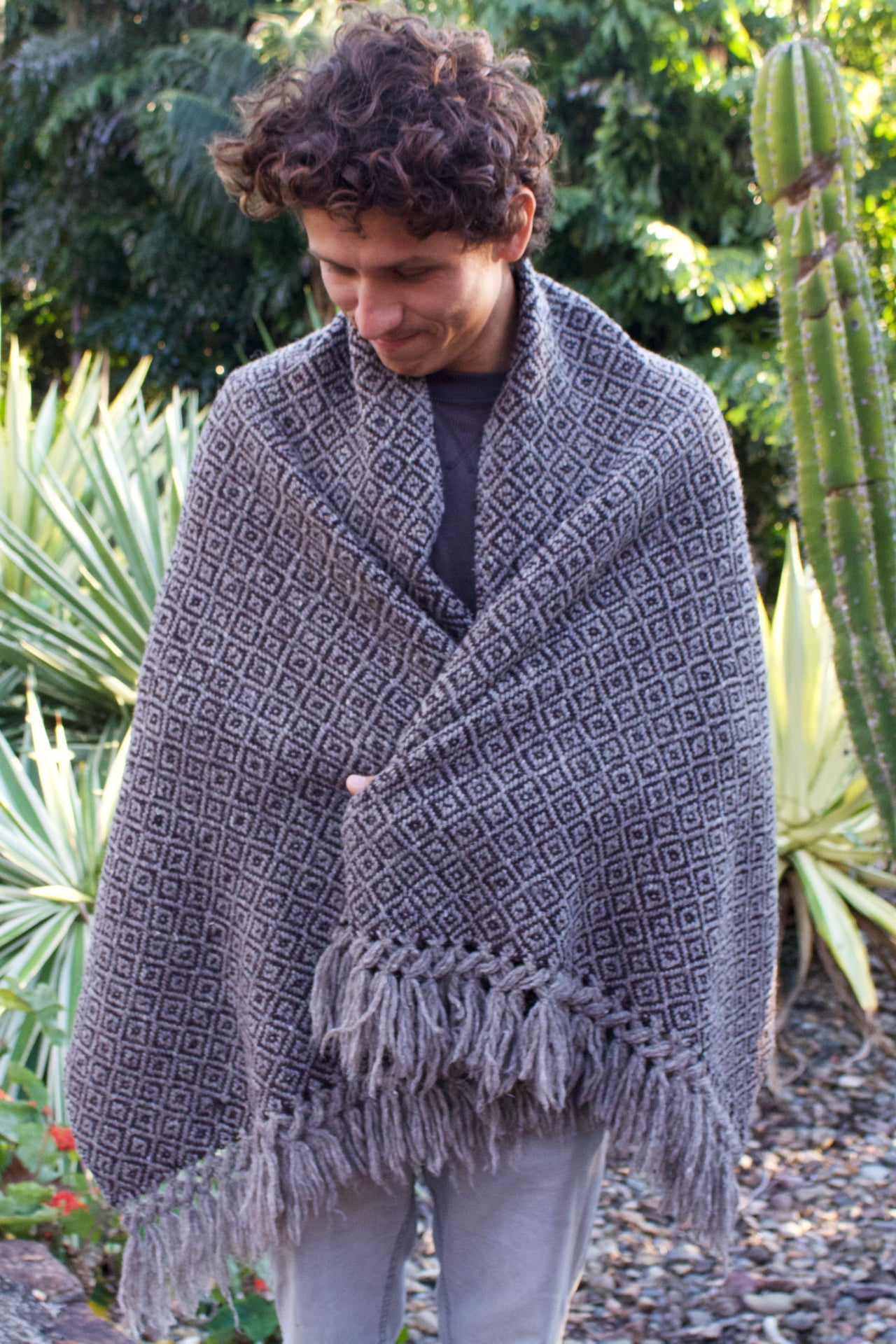 Tierras Altas Wool Shawl  Shawl Grey & Brown - Cielo Collective handmade Mexico Guatemala
