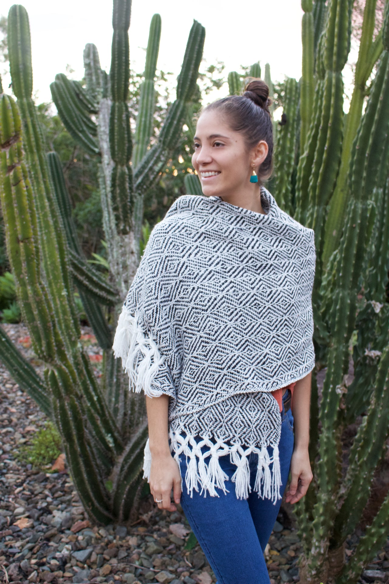Tierras Altas Cotton Shawl  Shawl Black - Cielo Collective handmade Mexico Guatemala