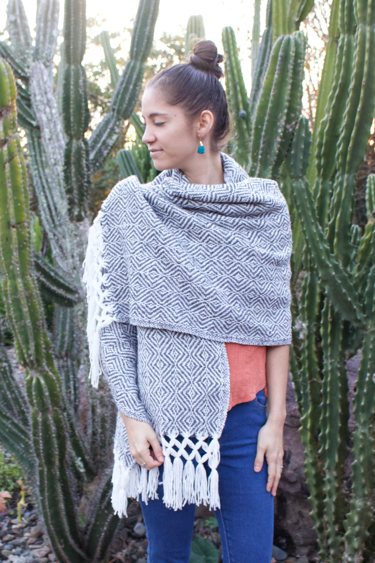 Tierras Altas Cotton Shawl  Shawl Grey - Cielo Collective handmade Mexico Guatemala