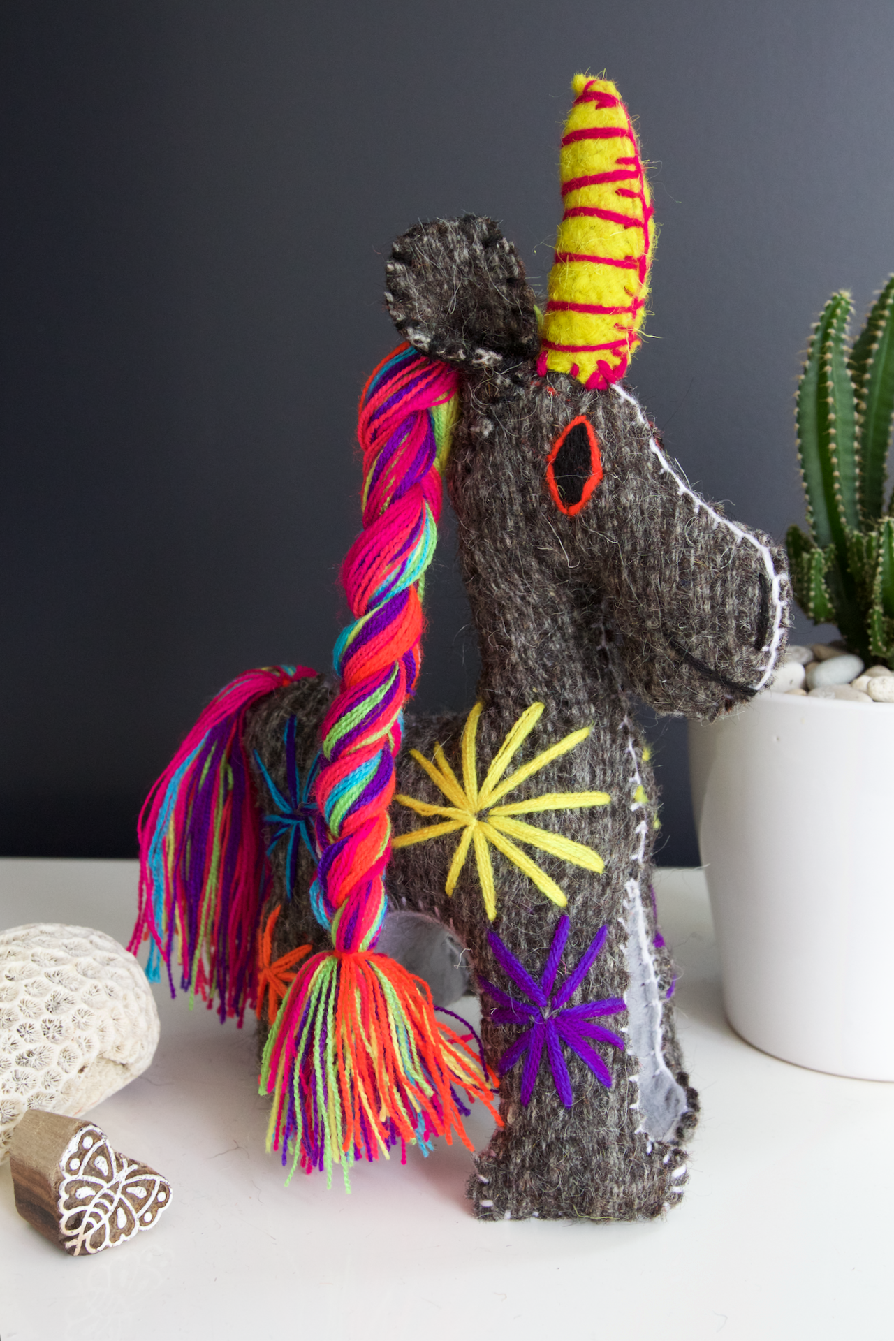 Animalito Unicorn 03  Decor Grey - Cielo Collective handmade Mexico Guatemala