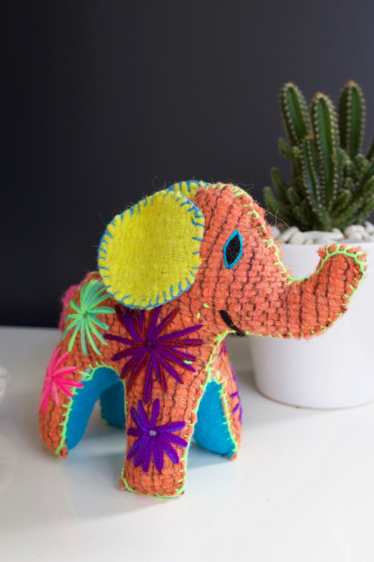 Animalito Elephant  Decor Orange - Cielo Collective handmade Mexico Guatemala