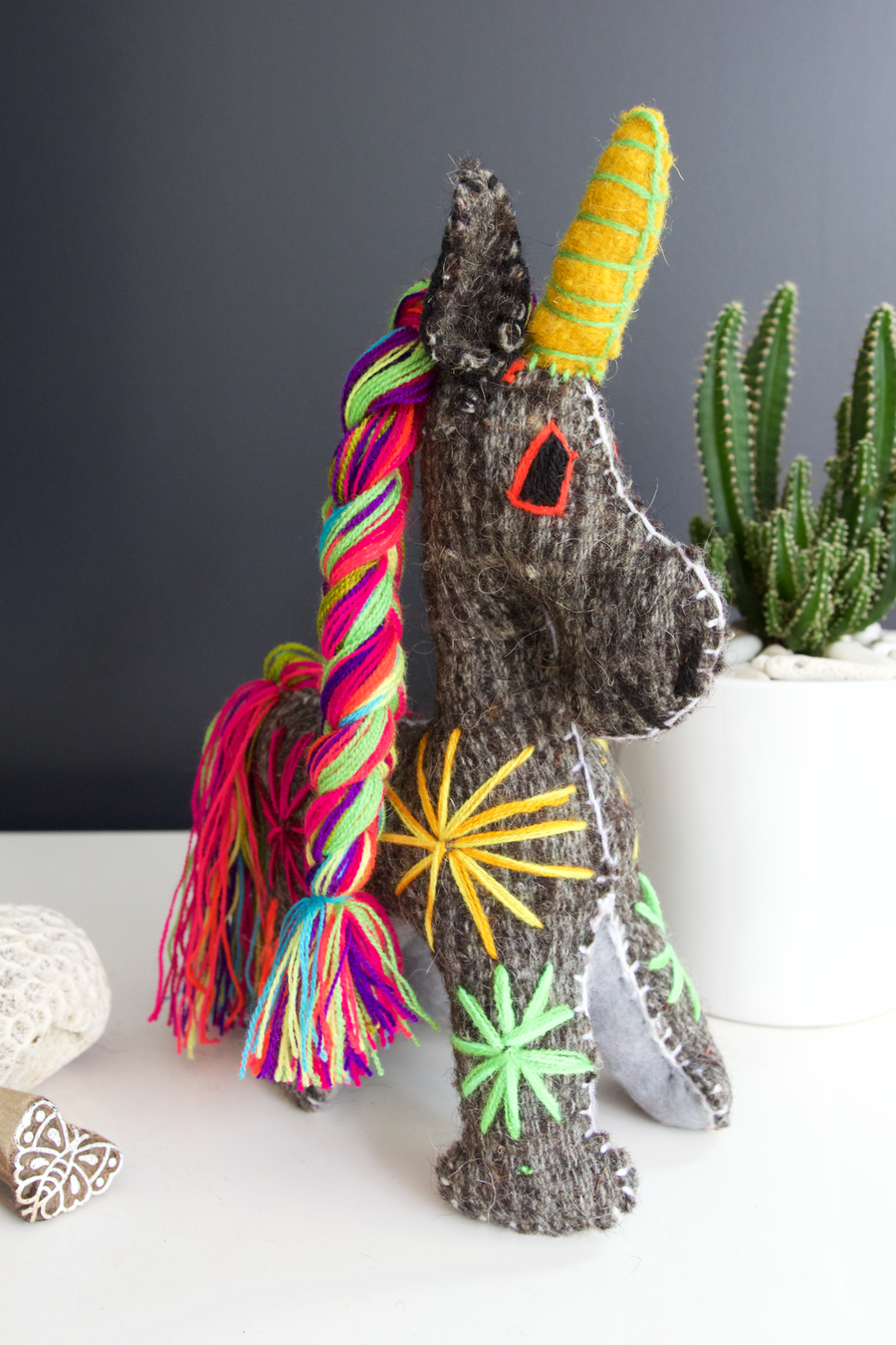 Animalito Unicorn 07  Decor Grey - Cielo Collective handmade Mexico Guatemala