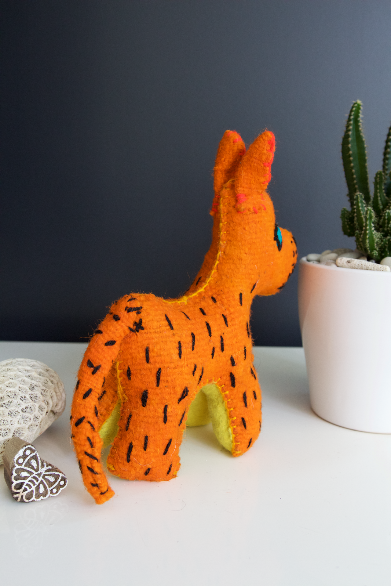 Animalito Leopard 02  Decor Orange - Cielo Collective handmade Mexico Guatemala