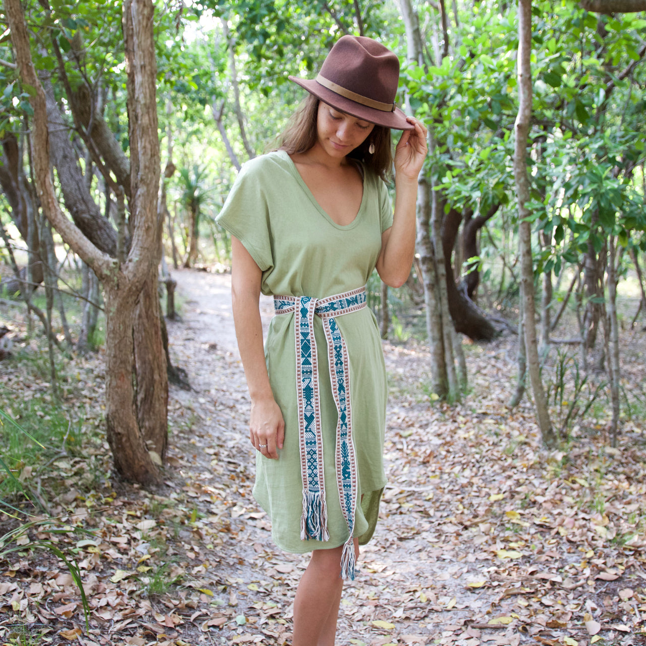 Berta Belt  Belt Green & Brown - Cielo Collective handmade Mexico Guatemala