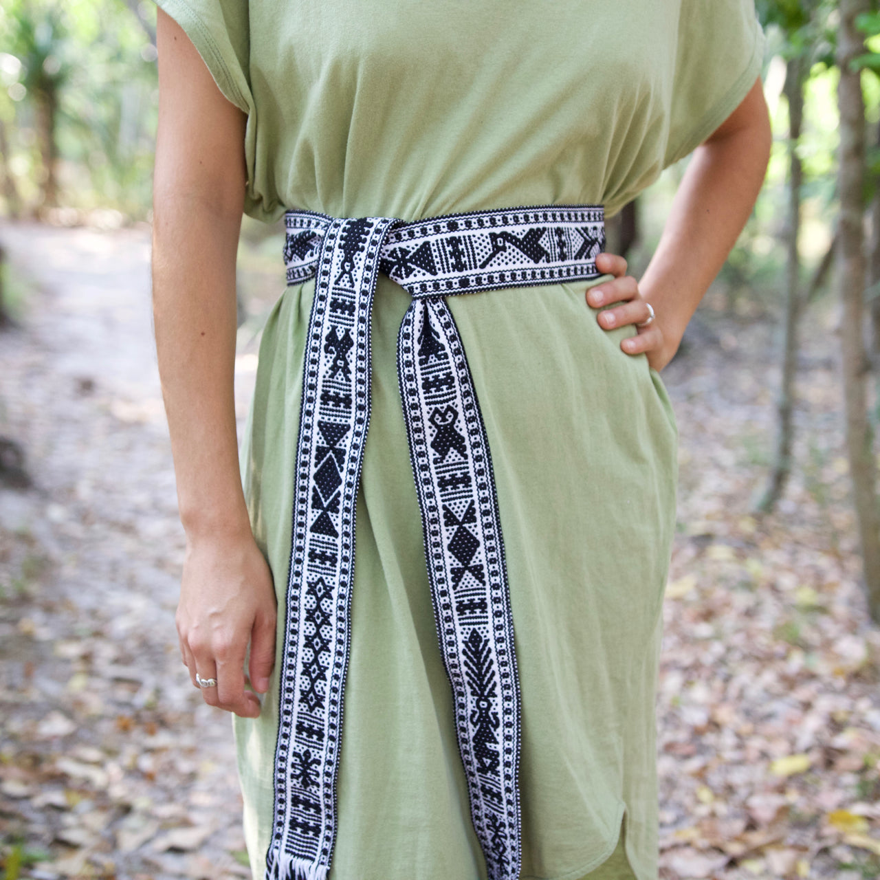 Berta Belt  Belt Black & White - Cielo Collective handmade Mexico Guatemala