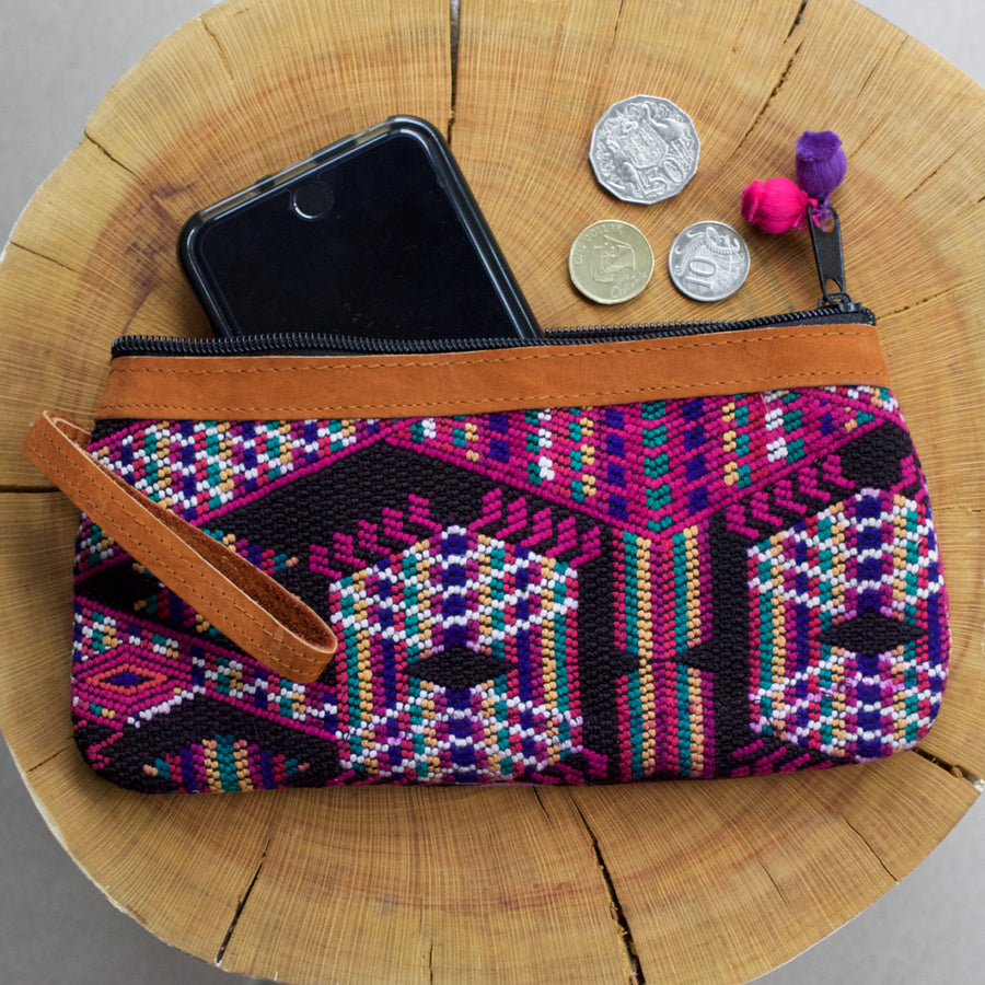 Catarina Clutch 24  Clutch Pink & Black - Cielo Collective handmade Mexico Guatemala