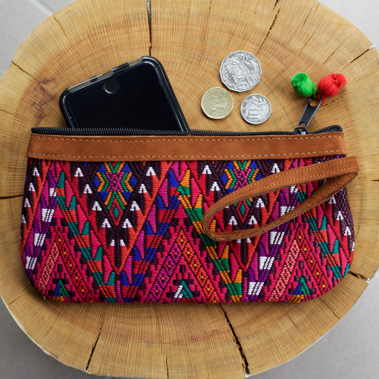 Catarina Clutch 26  Clutch Red - Cielo Collective handmade Mexico Guatemala