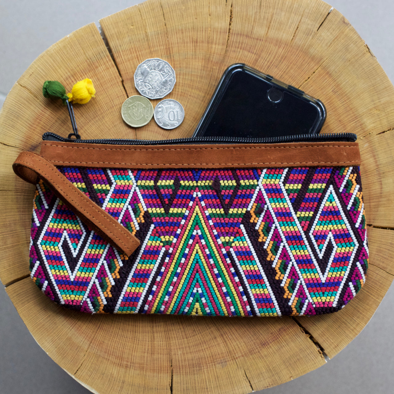Catarina Clutch 30  Clutch Rainbow Triangle - Cielo Collective handmade Mexico Guatemala