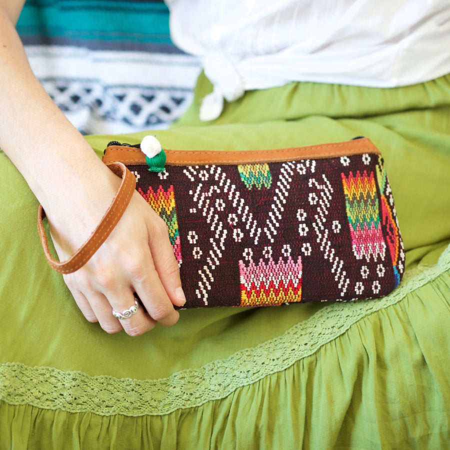 Catarina Clutch 64  Clutch Brown - Cielo Collective handmade Mexico Guatemala