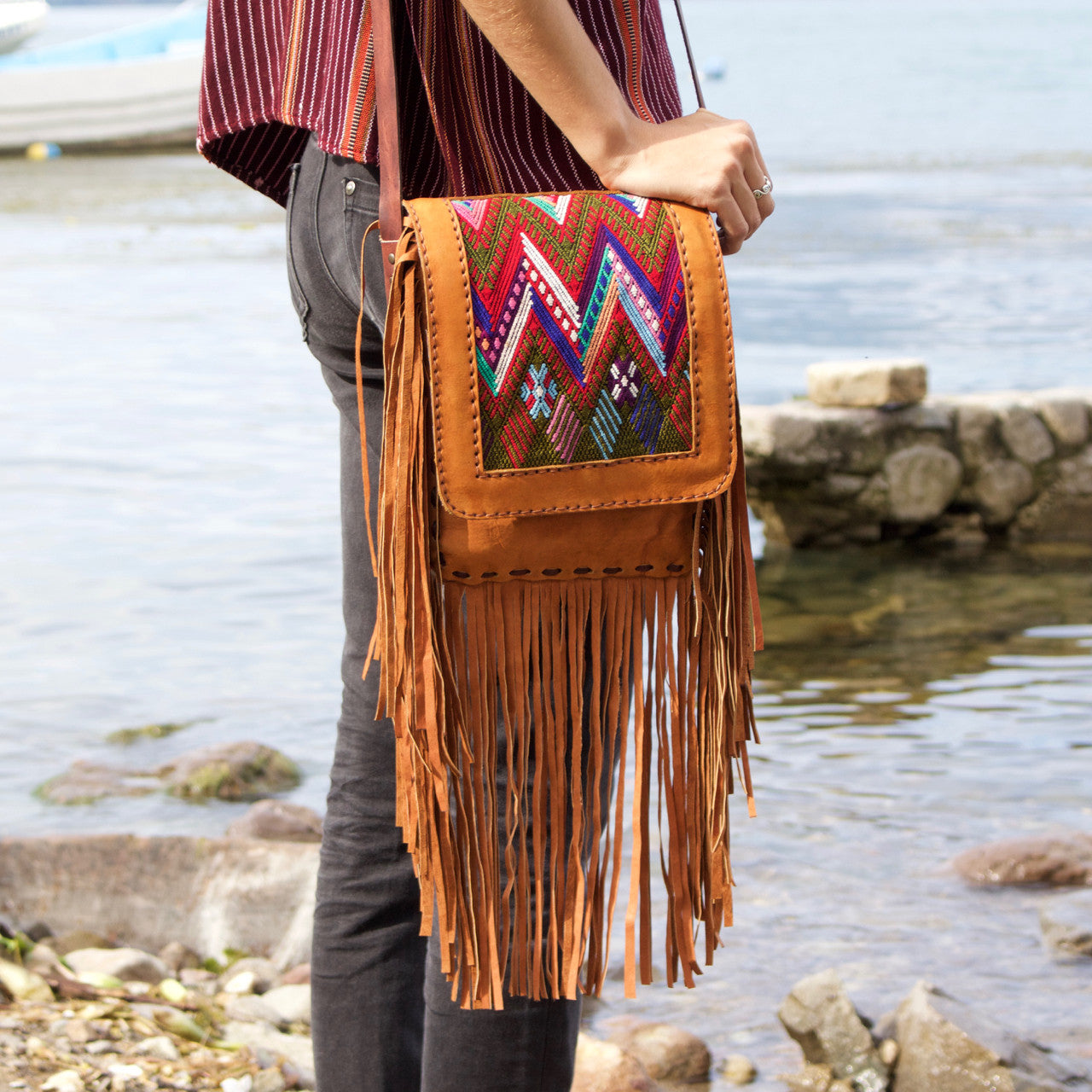 Chi Chi Fringe Bag - Tan 01  Shoulder Bag Multi Zigzag - Cielo Collective handmade Mexico Guatemala