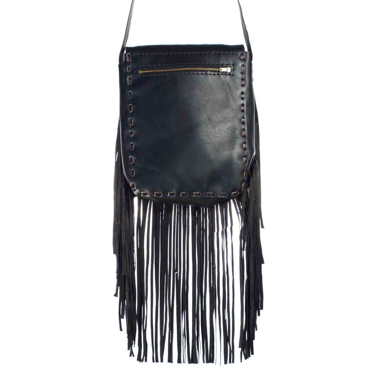 Chi Chi Fringe Bag - Black  Shoulder Bag Multi Zigzag - Cielo Collective handmade Mexico Guatemala