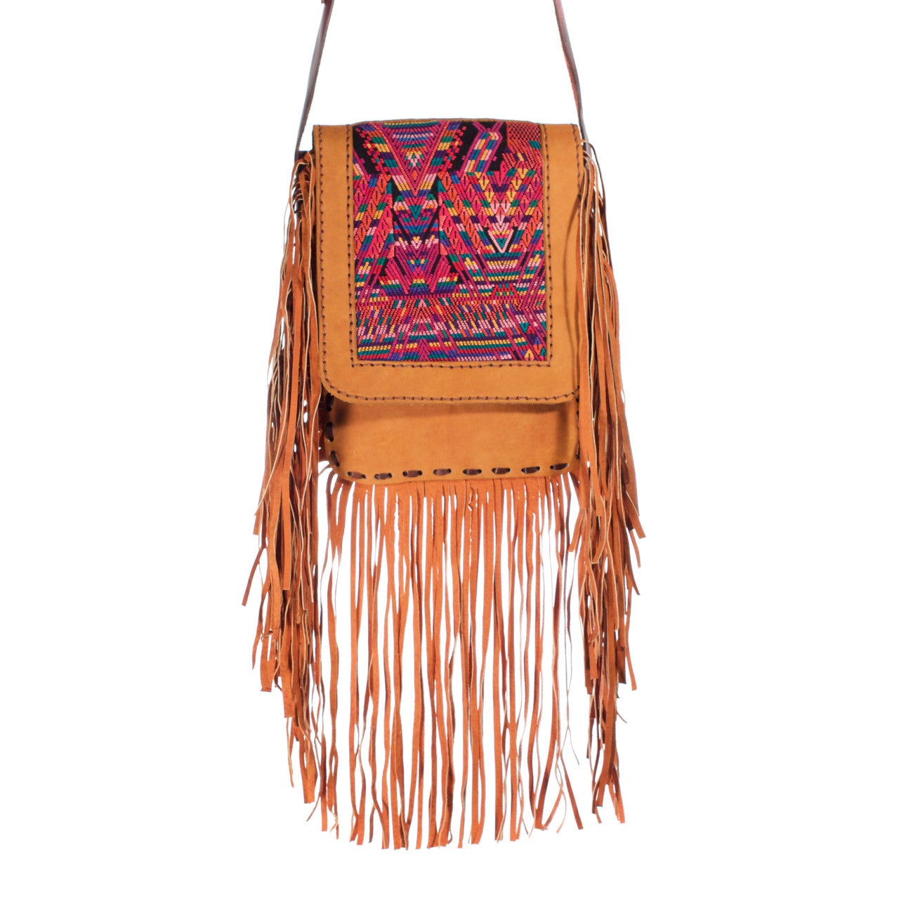 Chi Chi Fringe Bag - Tan 02  Shoulder Bag Pink Rainbow - Cielo Collective handmade Mexico Guatemala