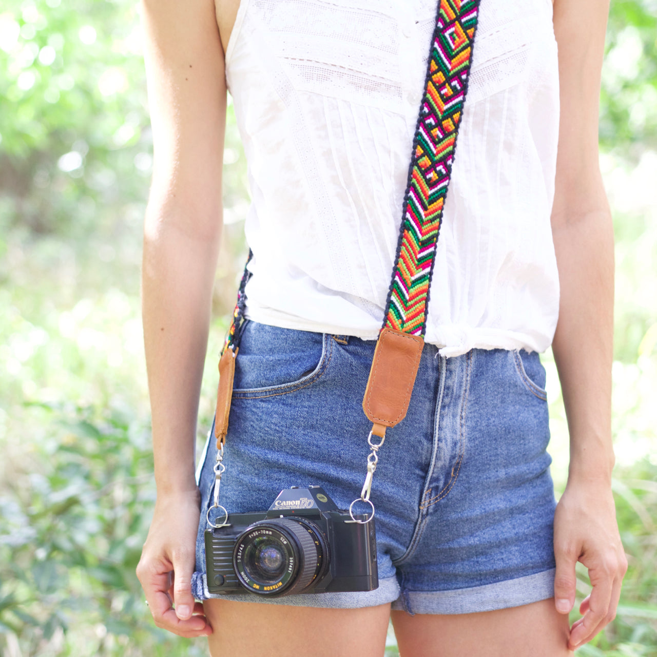 Cielo Cross Body Camera Strap 01  Camera Strap Tan - Cielo Collective handmade Mexico Guatemala