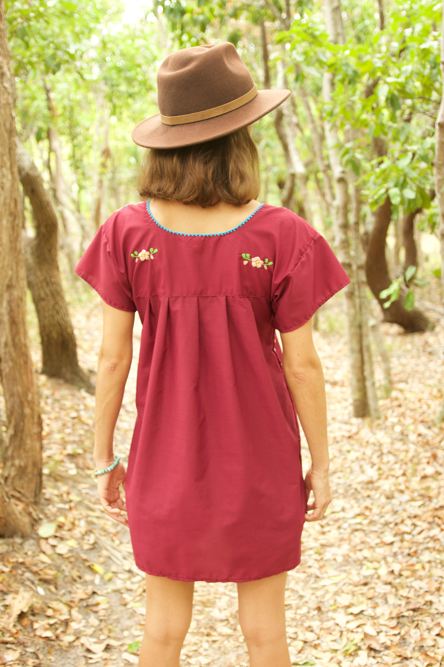 Bonita Summer Dress  Dress Burgundy - Cielo Collective handmade Mexico Guatemala