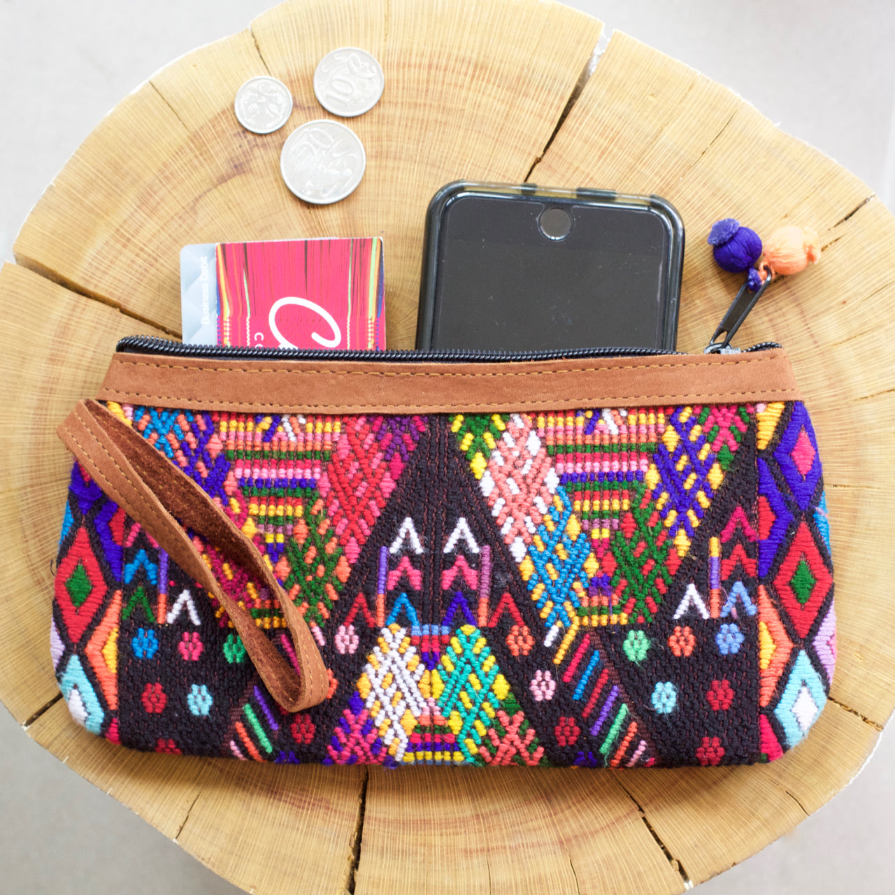 Catarina Clutch 45  Clutch Black Rainbow - Cielo Collective handmade Mexico Guatemala