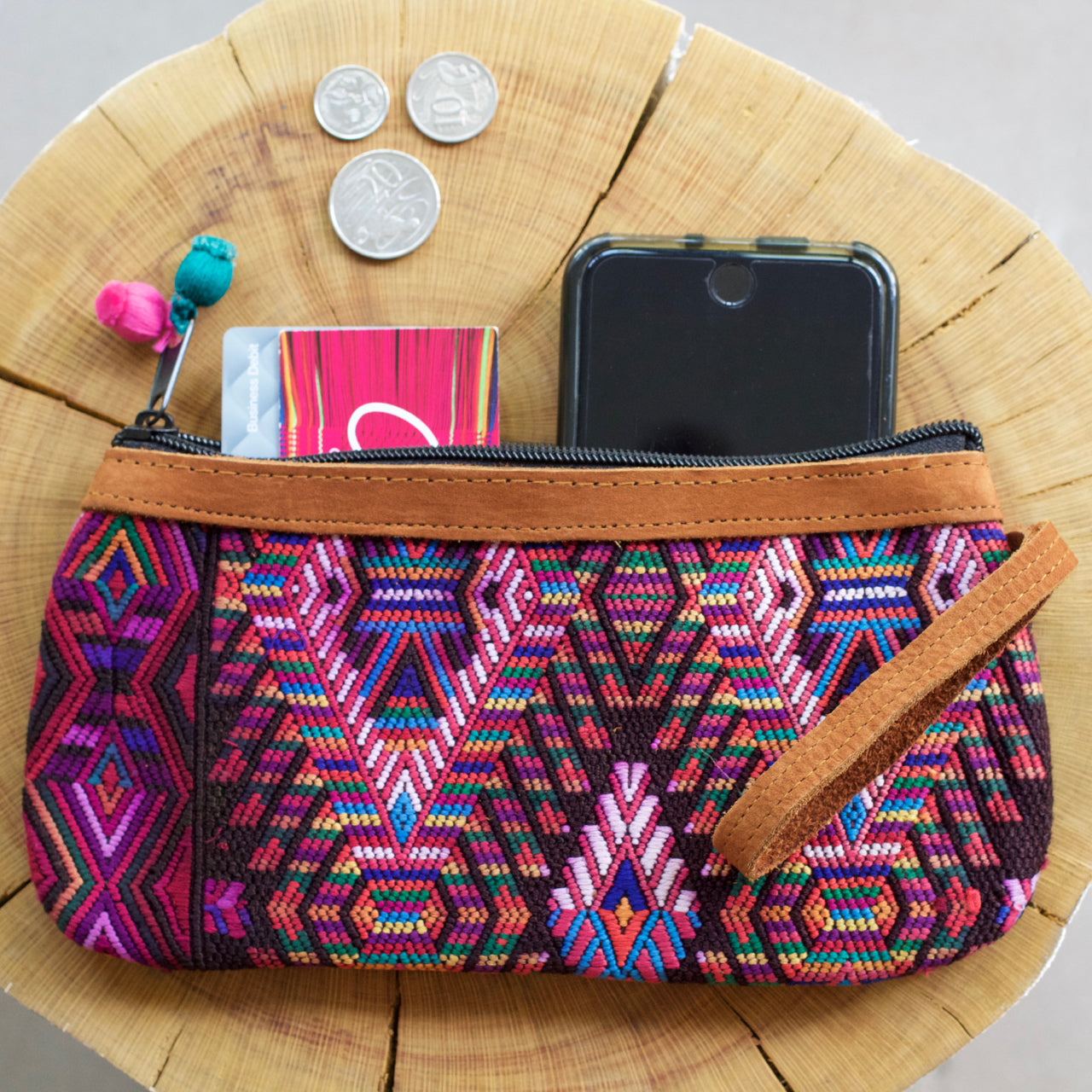 Catarina Clutch 55  Clutch Purple & Pink - Cielo Collective handmade Mexico Guatemala