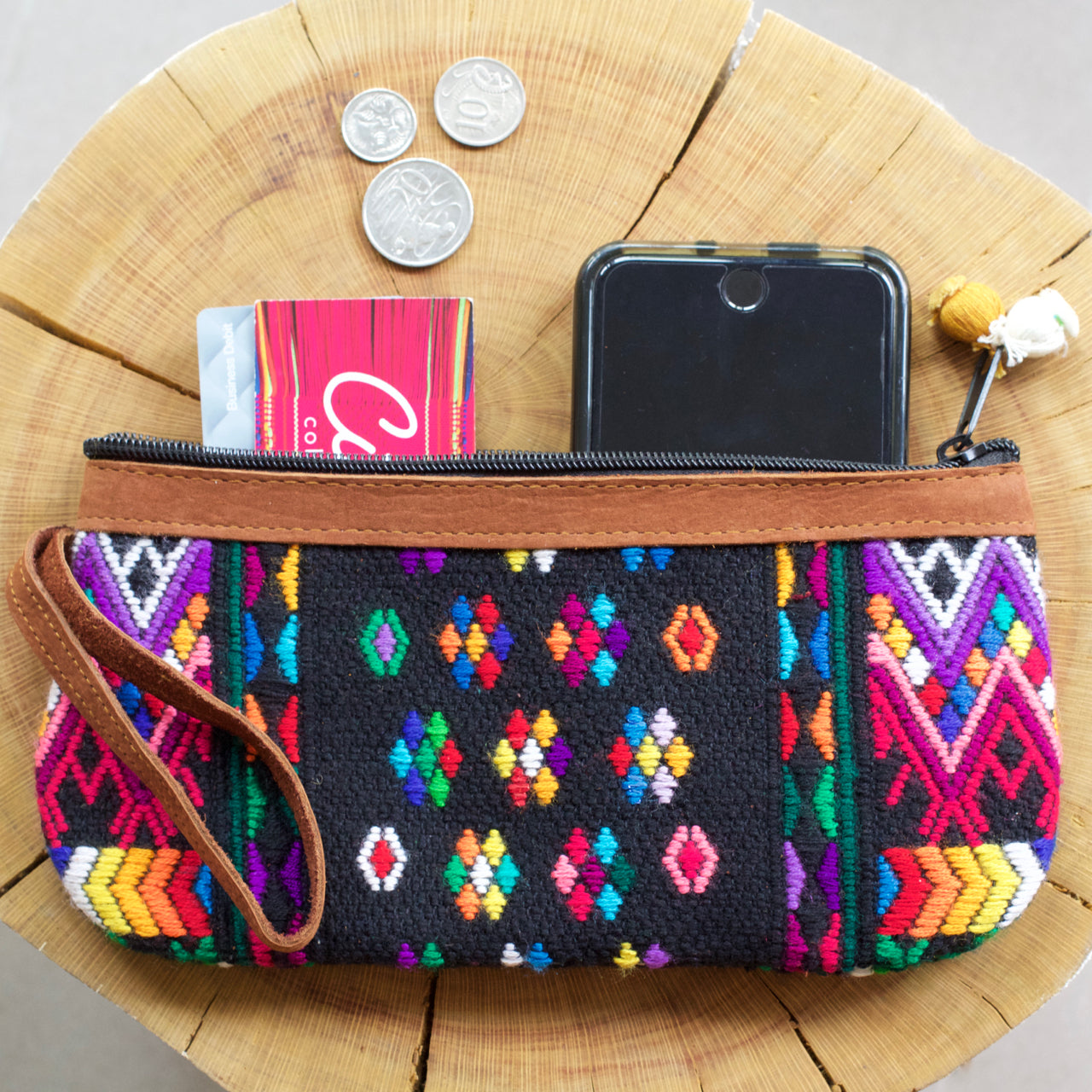 Catarina Clutch 60  Clutch Black - Cielo Collective handmade Mexico Guatemala