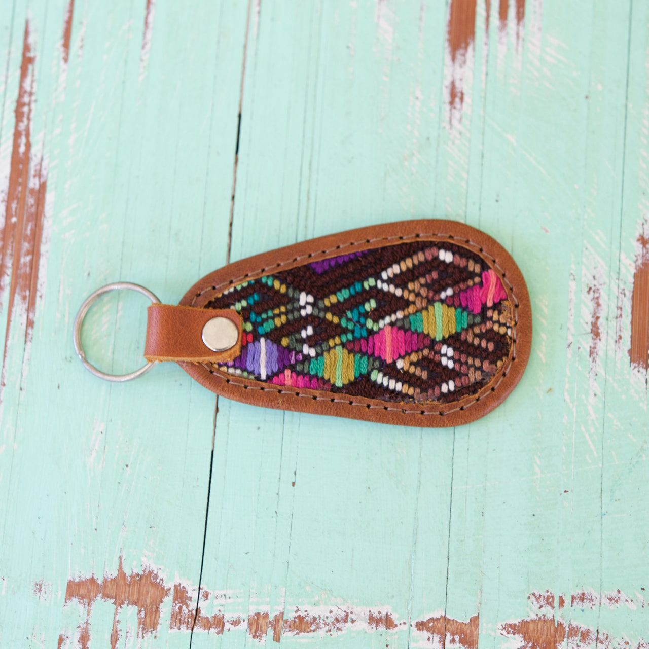 Cielo Key Ring 29  Key Ring Green & Brown - Cielo Collective handmade Mexico Guatemala