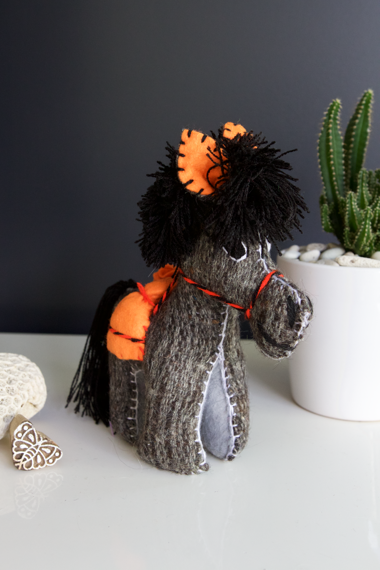 Animalito Donkey 02  Decor Grey - Cielo Collective handmade Mexico Guatemala