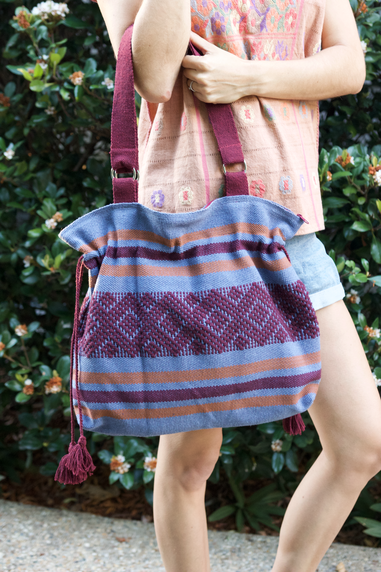 Jalieza Shoulder Bag  Shoulder Bag Marine Blue - Cielo Collective handmade Mexico Guatemala