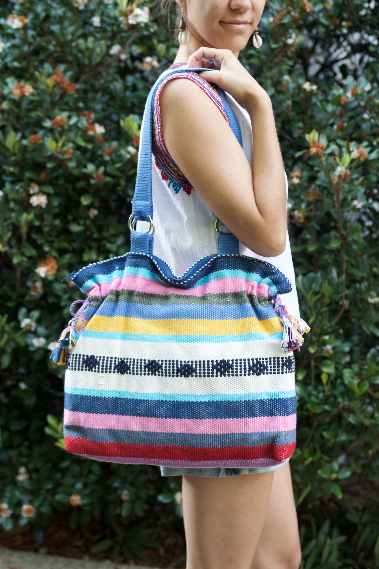 Jalieza Shoulder Bag  Shoulder Bag Rainbow - Cielo Collective handmade Mexico Guatemala