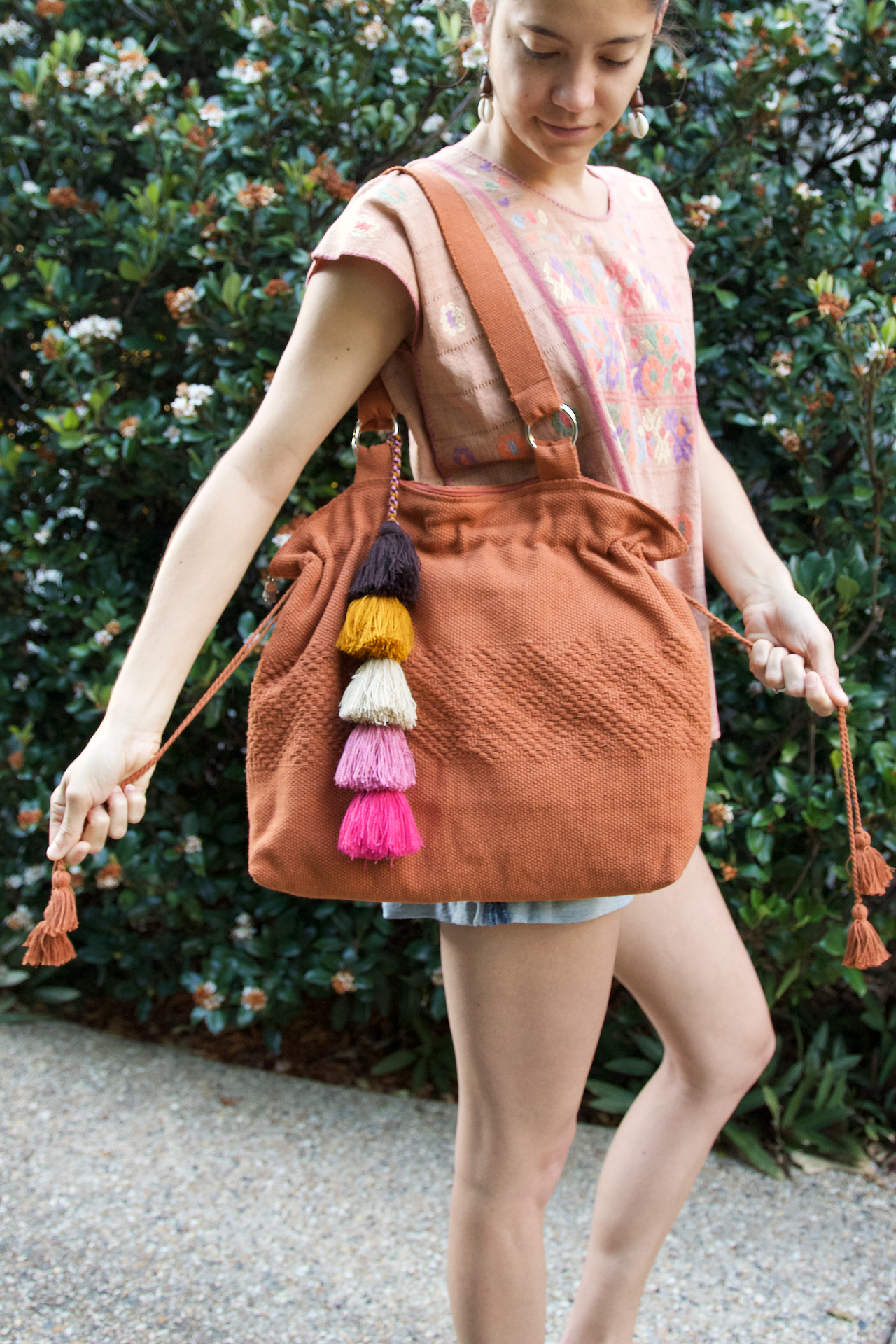 Jalieza Shoulder Bag  Shoulder Bag Terracotta - Cielo Collective handmade Mexico Guatemala