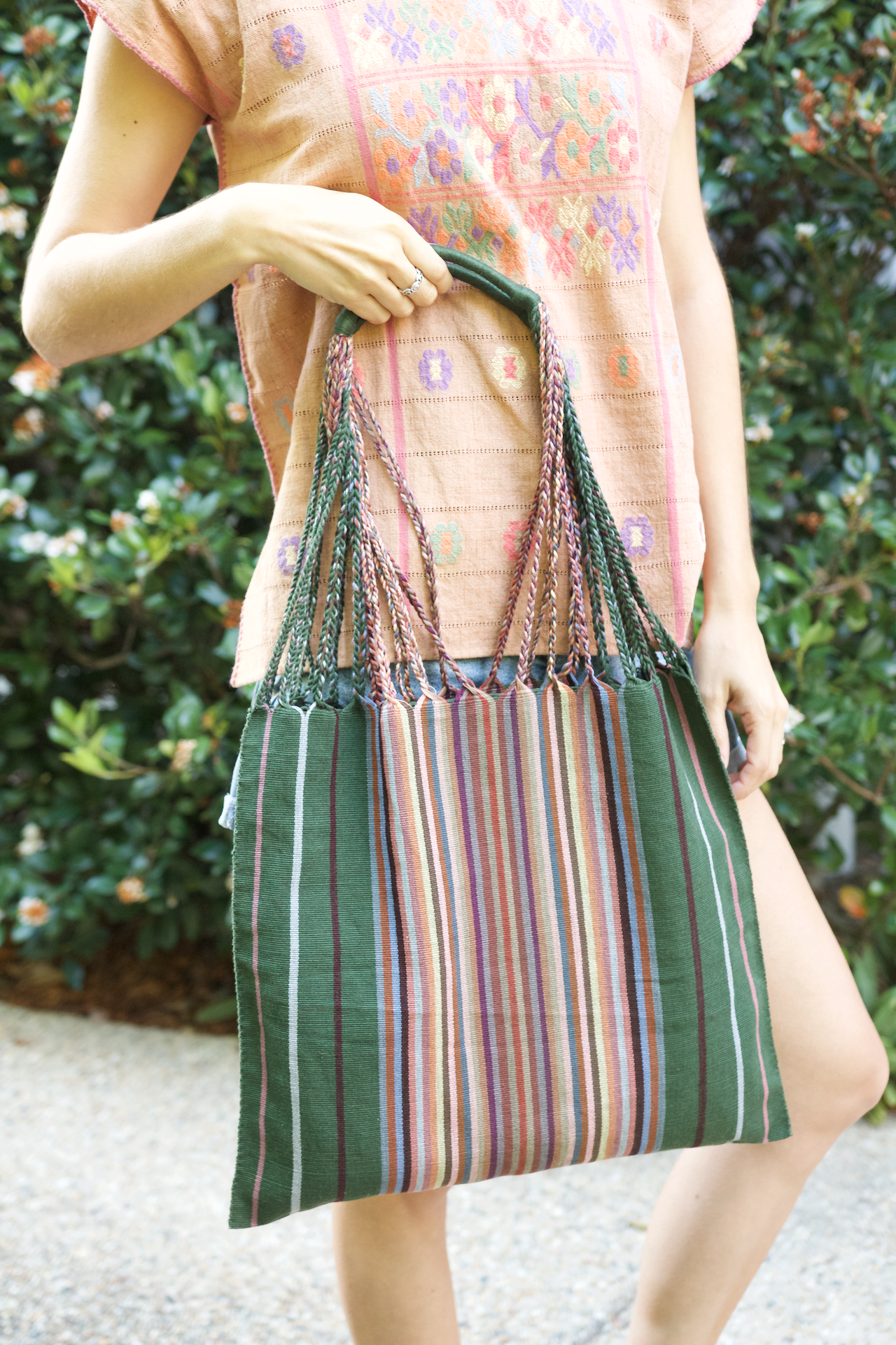 Raya Shoulder Bag  Shoulder Bag Forest Green - Cielo Collective handmade Mexico Guatemala