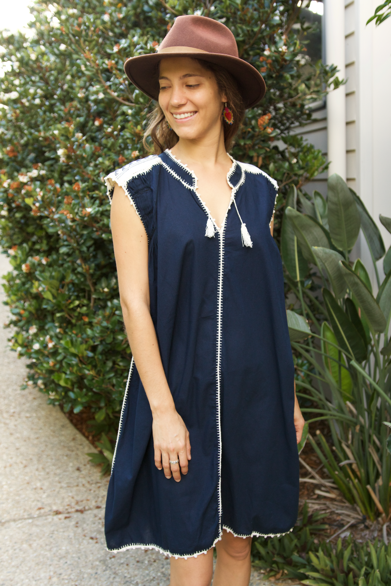 Victoria Dress  Dress Navy - Cielo Collective handmade Mexico Guatemala