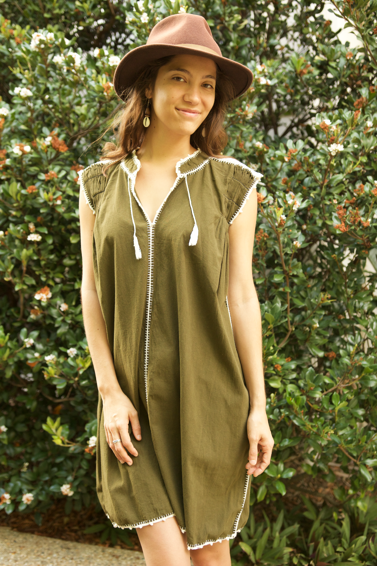 Victoria Dress  Dress Olive Green - Cielo Collective handmade Mexico Guatemala