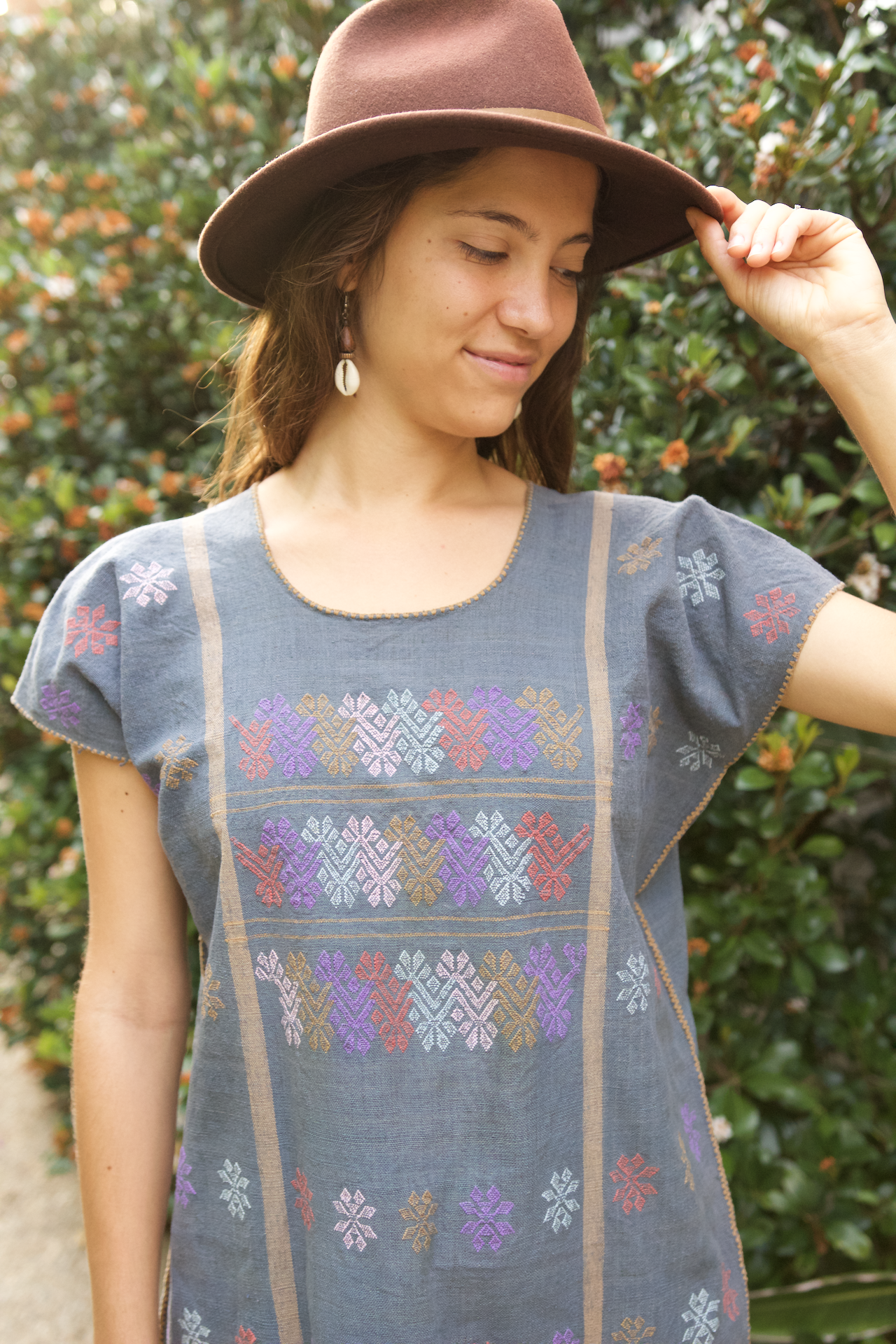 Costa Huipil  Dress Blue - Cielo Collective handmade Mexico Guatemala