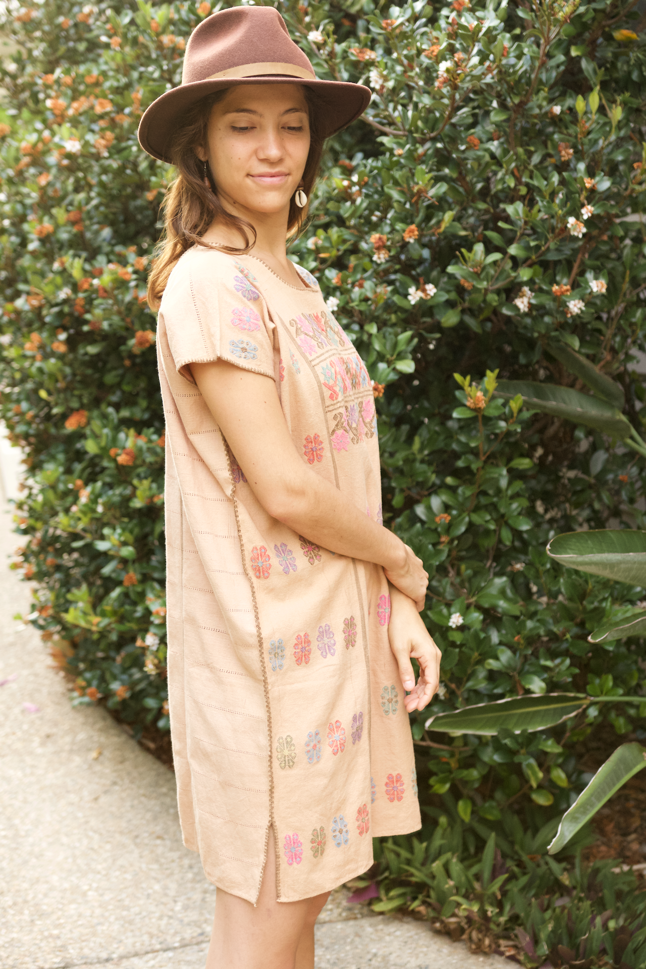 Costa Huipil  Dress Tan - Cielo Collective handmade Mexico Guatemala