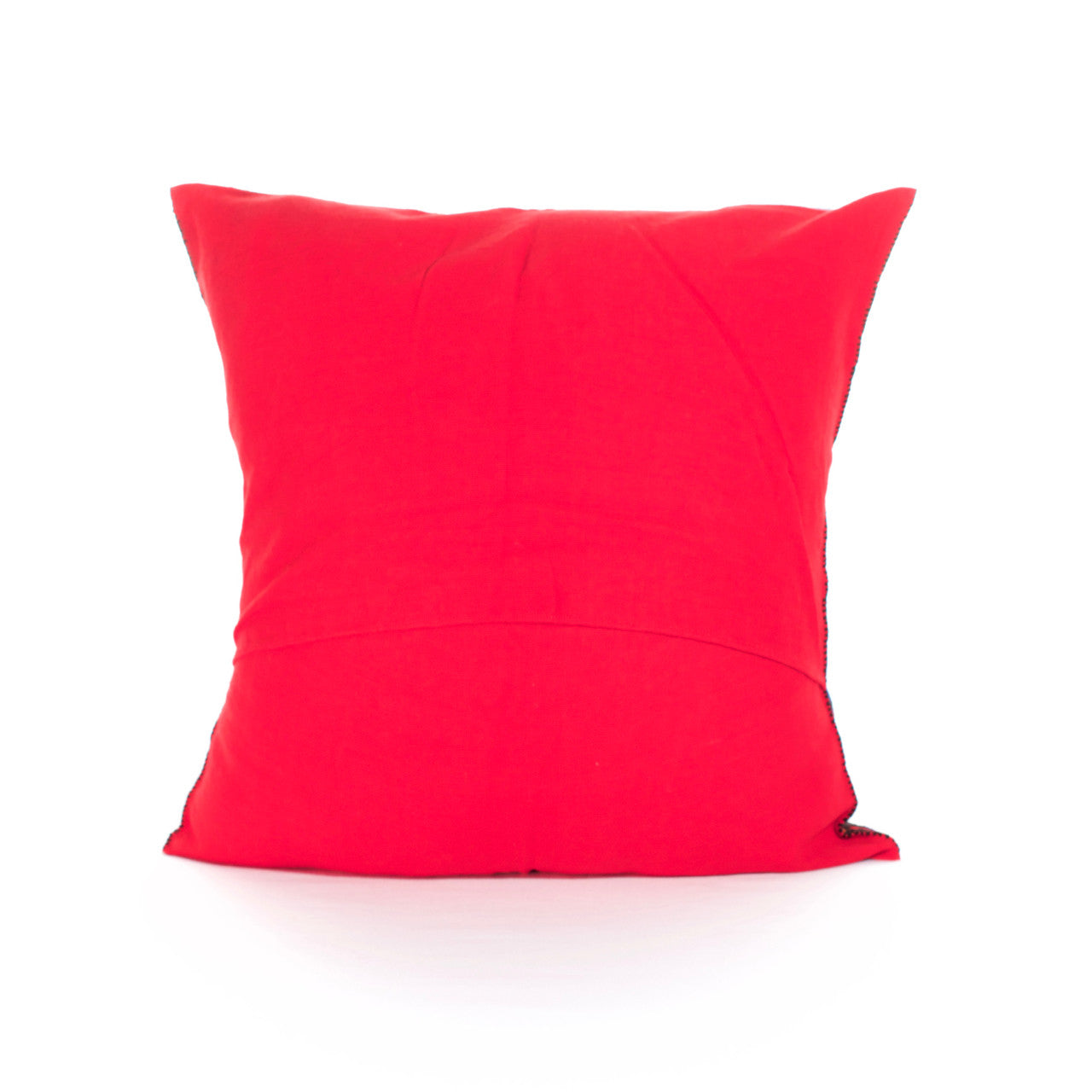 Diamante Cushion 08  Cushion Red with Rainbow Border - Cielo Collective handmade Mexico Guatemala