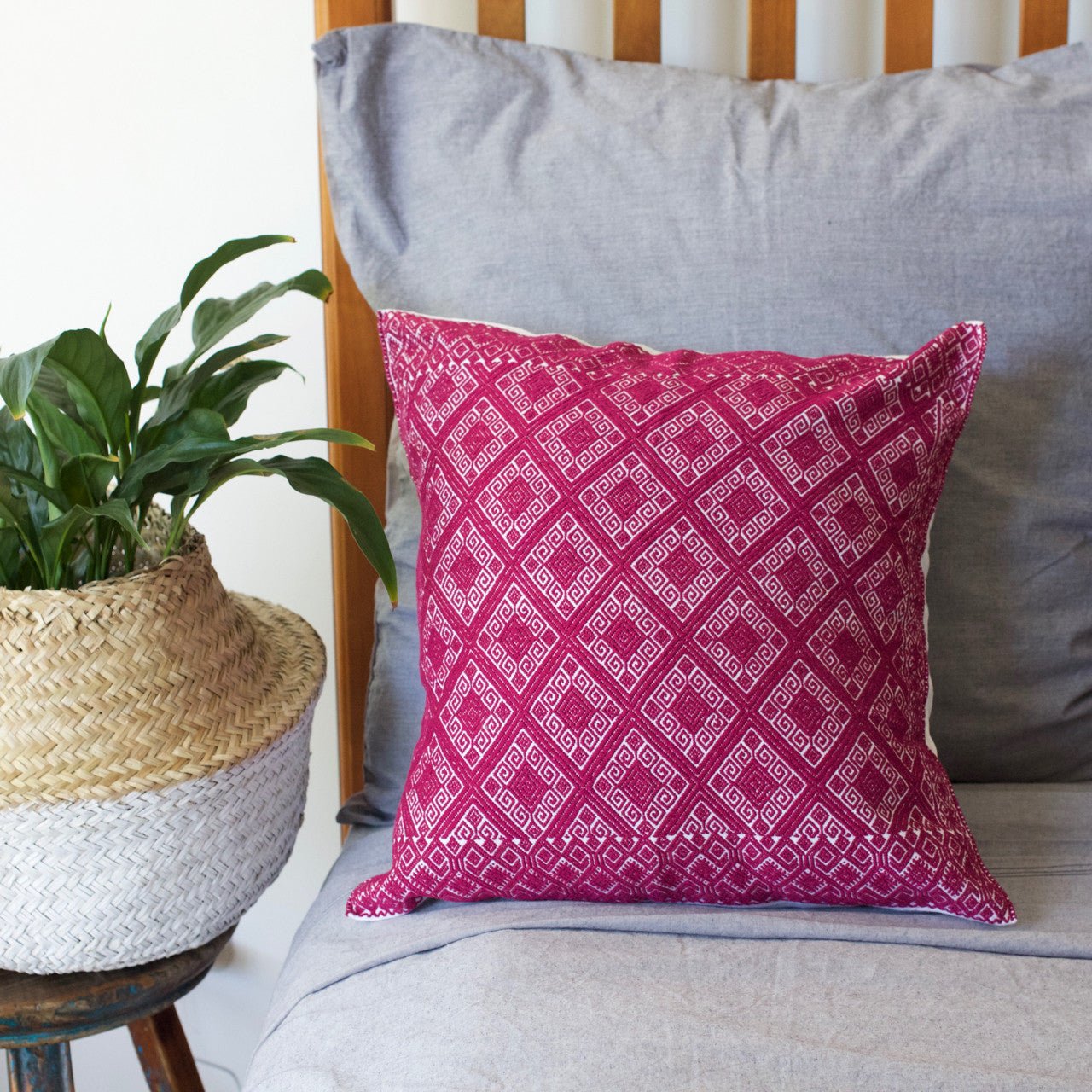 Diamante Cushion 04  Cushion Burgundy - Cielo Collective handmade Mexico Guatemala