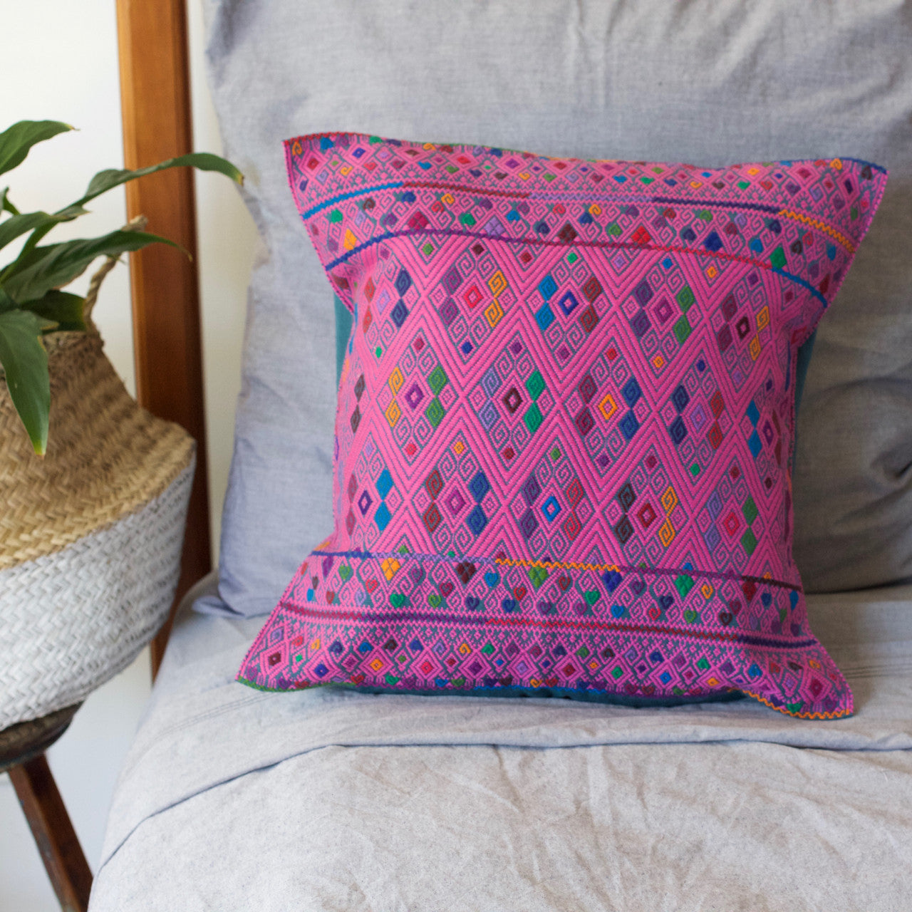 Diamante Cushion 07  Cushion Light Pink - Cielo Collective handmade Mexico Guatemala