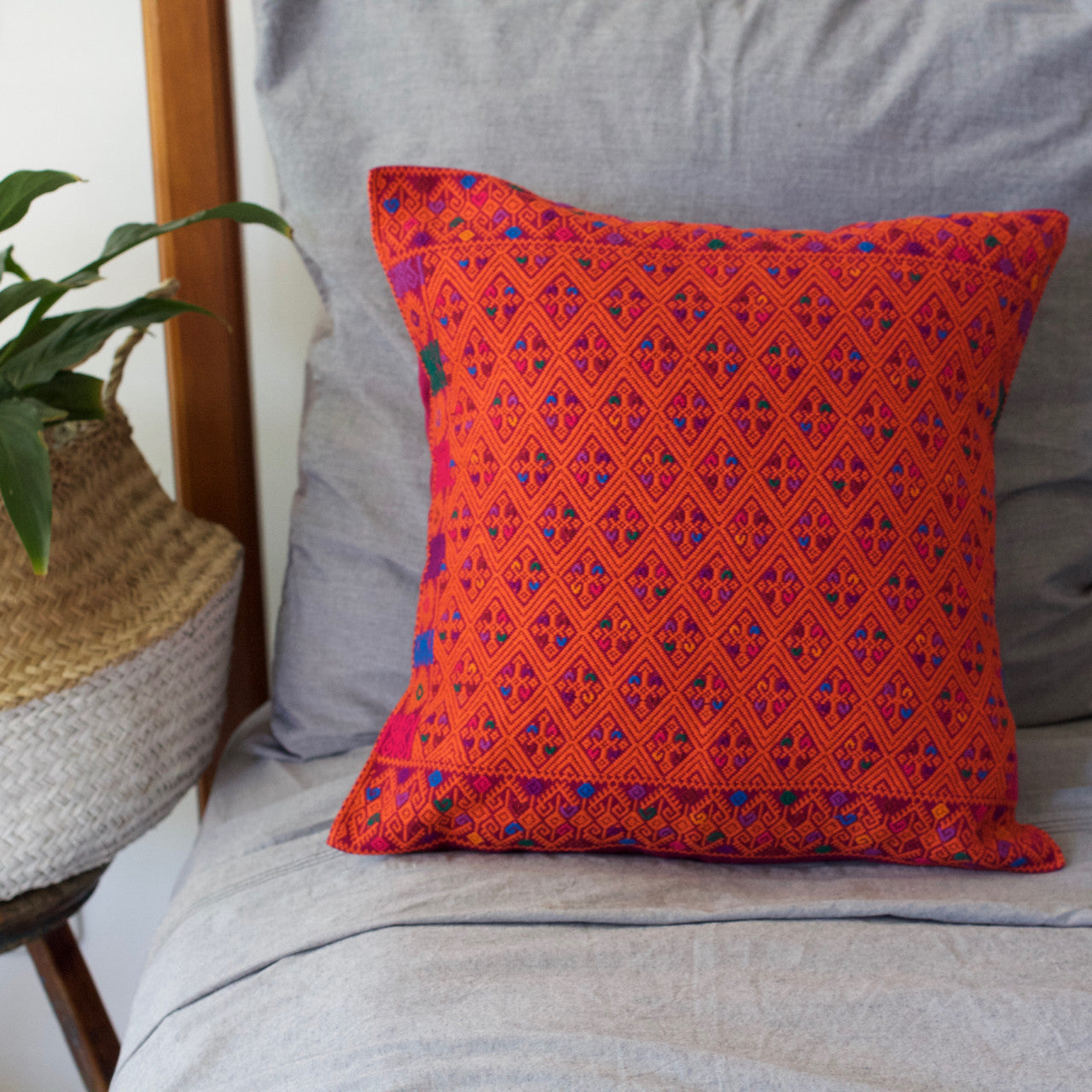 Diamante Cushion 03  Cushion Orange - Cielo Collective handmade Mexico Guatemala