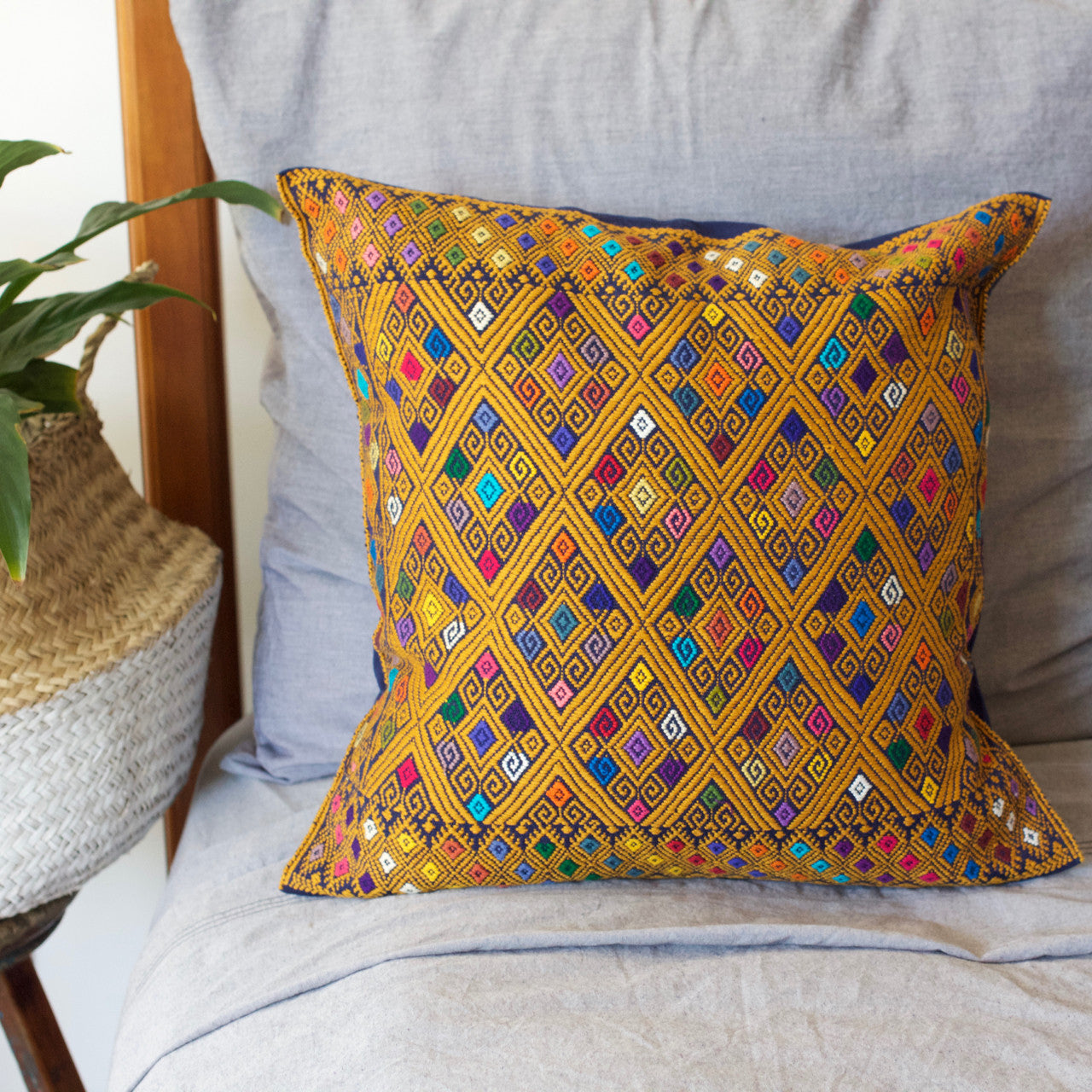 Diamante Cushion 02  Cushion Mustard - Cielo Collective handmade Mexico Guatemala