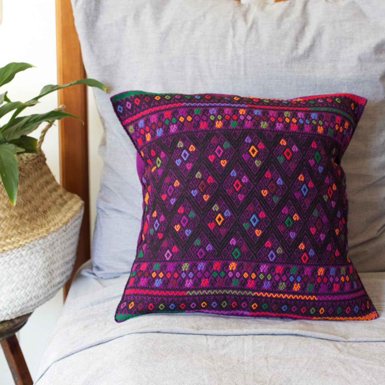 Diamante Cushion 06  Cushion Purple - Cielo Collective handmade Mexico Guatemala