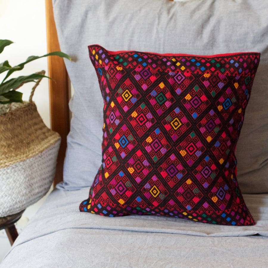 Diamante Cushion 09  Cushion Red - Cielo Collective handmade Mexico Guatemala